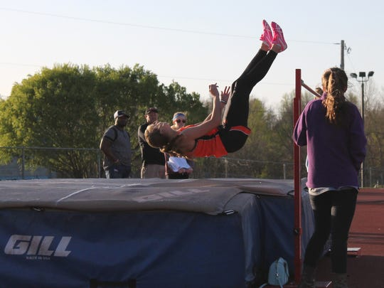 Republic senior Brooke Stanfield competes in high jump at the 2016 Glendale Girls Night Out track and field meet at JFK Stadium.