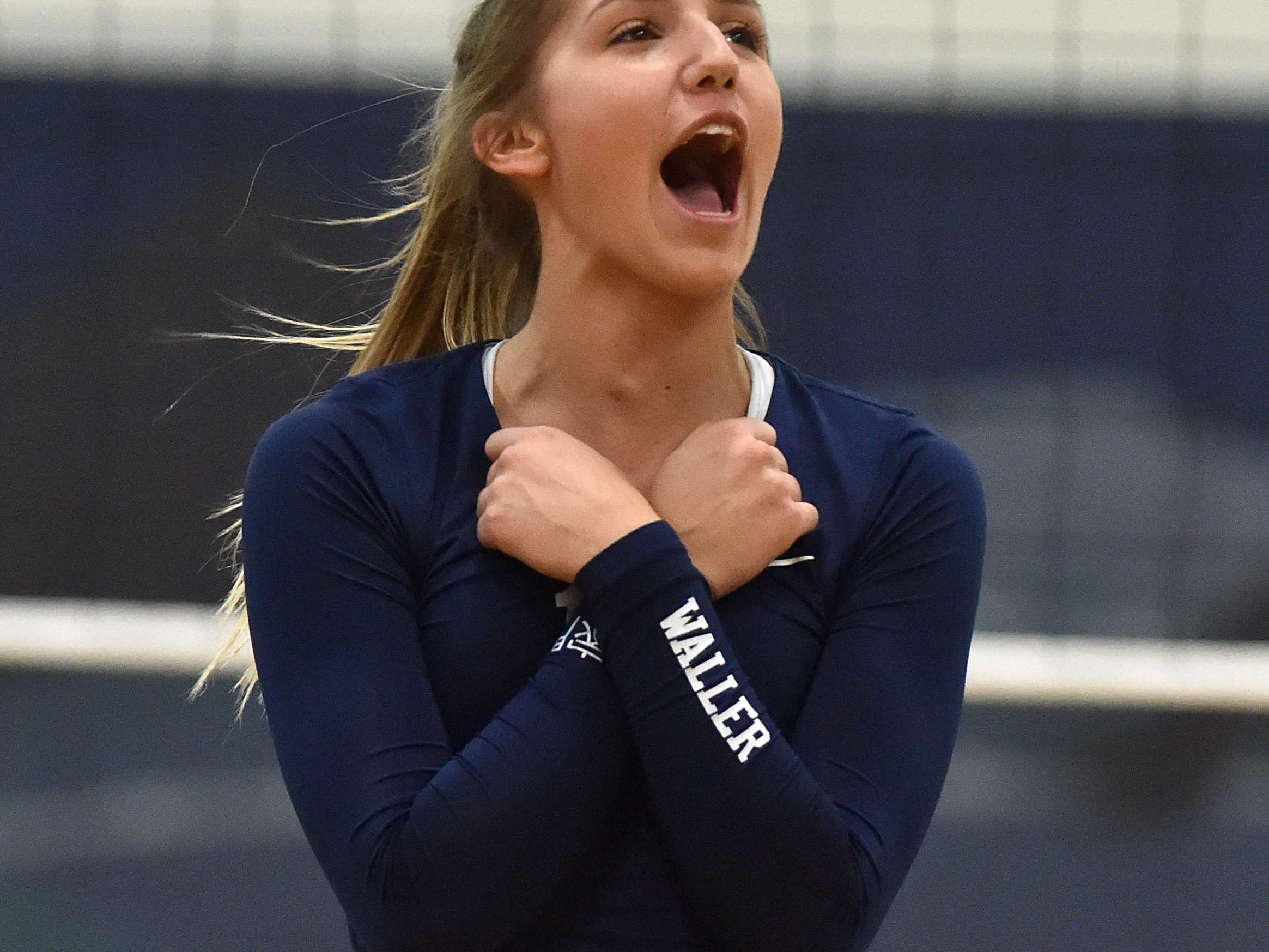 Damonte Ranch's Morgan Waller celebrates during the Mustangs' match against Douglas on Oct. 27.