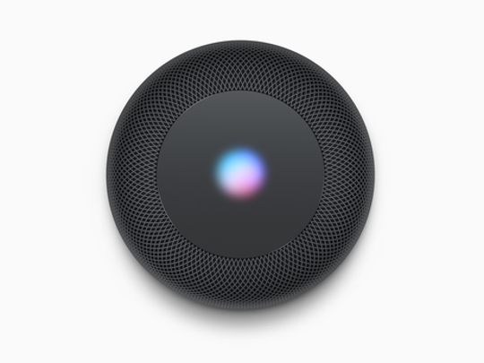 The top of HomePod shows the Siri activation.