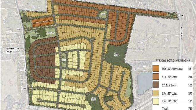 Rendering of Shelton Springs planned residential development.
