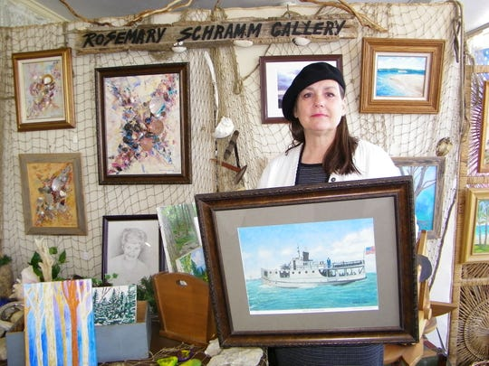 Rosemary Schramm's father was a commercial fisherman when she was growing up, and his old fishing nets now hang in her Port Clinton art gallery.