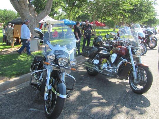 Motorcycles line the curb at Vernon Worthen Park on Saturday during a fundraiser to assist veterans with household repair projects. Many of those in attendance were participating in a lunch-provided benefit ride to Virgin's town park.