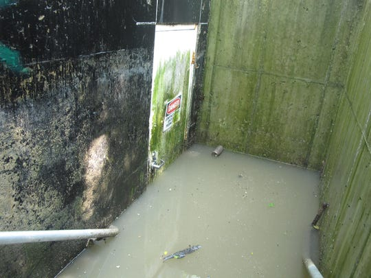 A below-grade entrance to a sewer/stormwater pumping