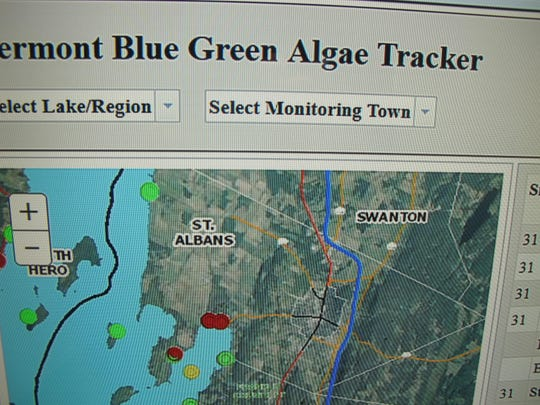 """A screen shot of the Vermont Department of Health online """"Blue Green Algae Tracker"""" map, photographed on Tuesday. Red dots in St. Albans bay indicate high-alert reports of cyanobacterial blooms."""