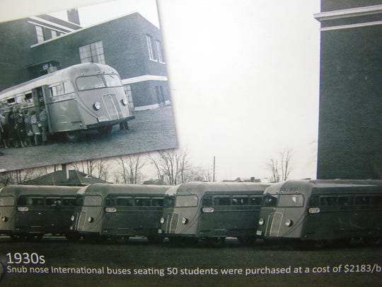 As these photos in the mural show, these snub nose buses brought children to and from school in the 1930s.