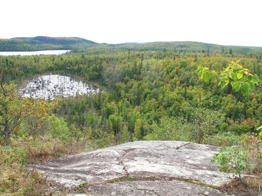 The view from Mount Baldy in mid-September hints at what's in store during peak fall color at Tettegouche State Park.