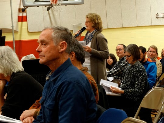 Charlotte resident Frances Foster, center, proposes an amendment to the town budget during town meeting Tuesday at the Charlotte Central School.