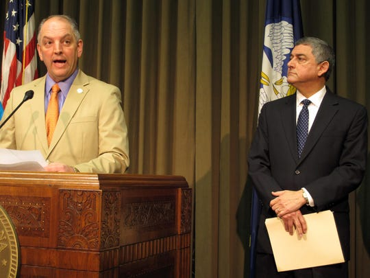 Gov. John Bel Edwards, left, and Commissioner of Administration Jay Dardenne.