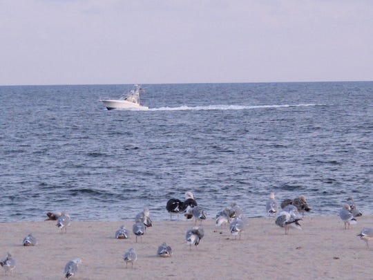 This Dec. 4, 2017 photo shows a boat sailing past Risden's Beach in Point Pleasant Beach. The owners of the privately owned beach are fighting New Jersey's effort to build protective sand dunes there, alleging the state's real motive is to seize their business. The state denies any such intention.
