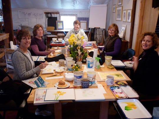 Members of the Tuesday morning gathering of the Musconetcong Watercolor Group stop for a moment for a photo. Shown are Fran Creegan (left to right), Arejay Clark, Karen Piznak, Jill Fuhrmann and Lisa Uchrin.