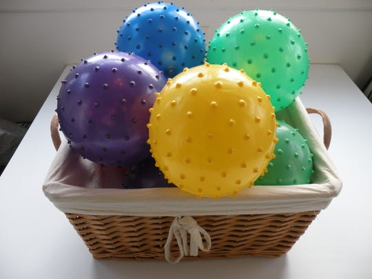 Rubber balls were given to the tiny guests as party favors.