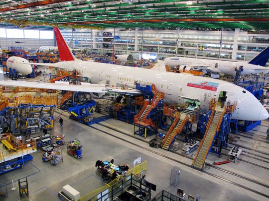 Workers assemble Boeing 787 Dreamliners in  North Charleston, S.C.
