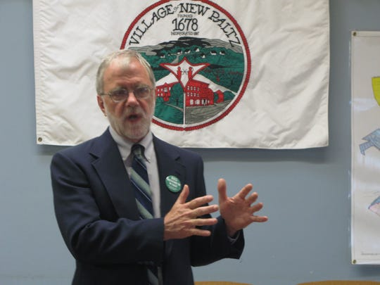 Howie Hawkins, Green Party candidate for governor, makes a point while addressing supporters in June at New Paltz Village Hall.