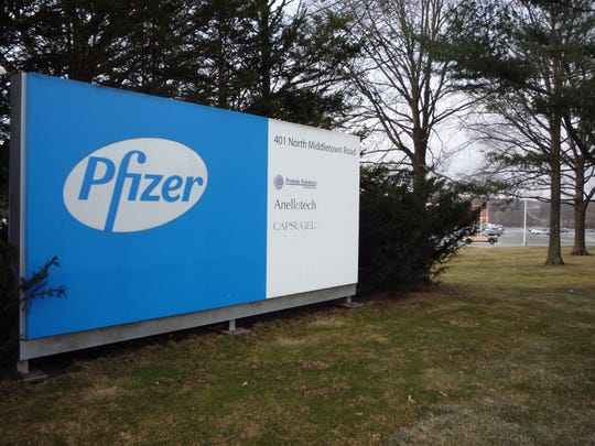 A sign at the Pfizer campus in Pearl River.