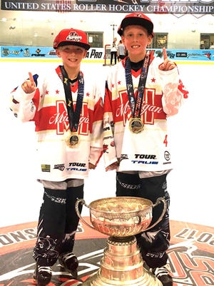 South Lyon cousins Sam Wolak (left) and Justin Bloink led Team Michigan to an '07 AAA U.S. Roller Hockey Championship in Taylor.