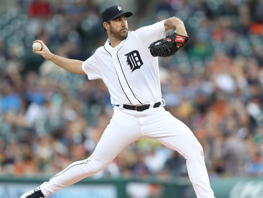 Tigers pitcher Justin Verlander throws during the second