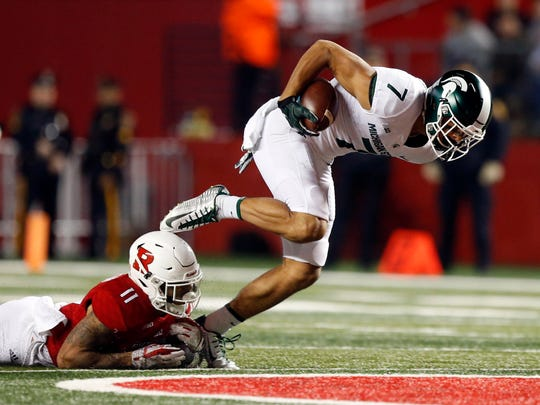 Michigan State wide receiver Cody White (7) makes a