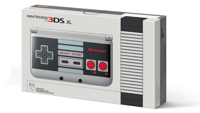 Nintendo Entertainment System-themed Nintendo 3DS XL and box