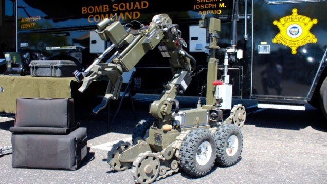 The Maricopa County (Ariz.) Sheriff's Office uses an ANDROS F6 robot, which can carry up to 200 pounds, for a variety of tasks.