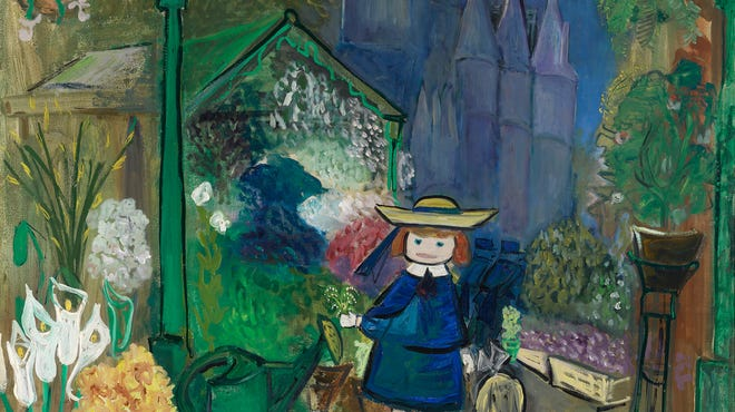 """Madeline at the Paris Flower Market,"" 1955, is an oil on canvas on loan from the estate of Ludwig Bemelmans."