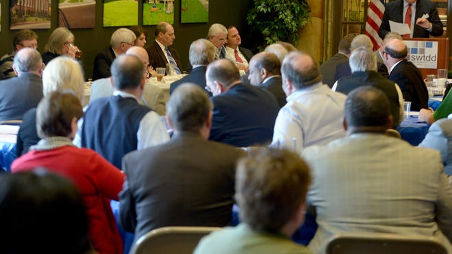 Southwest Tennessee Development District Executive Director Joe Barker discusses the 2016 legislative agenda during a luncheon Tuesday.
