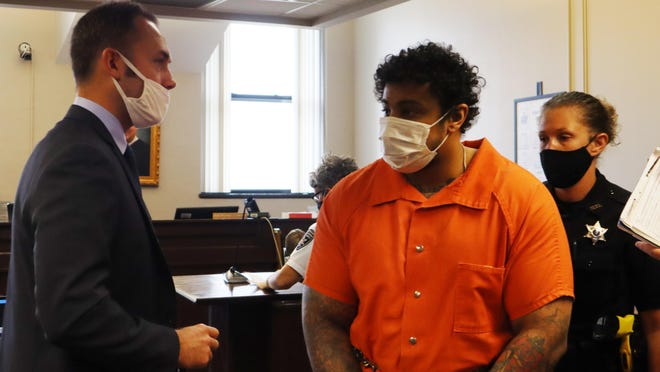 Naythen Aubain, the Utica man accused of killing his grandmother and landlord, appeared Thursday, Sept. 17, 2020, in Oneida County Court.