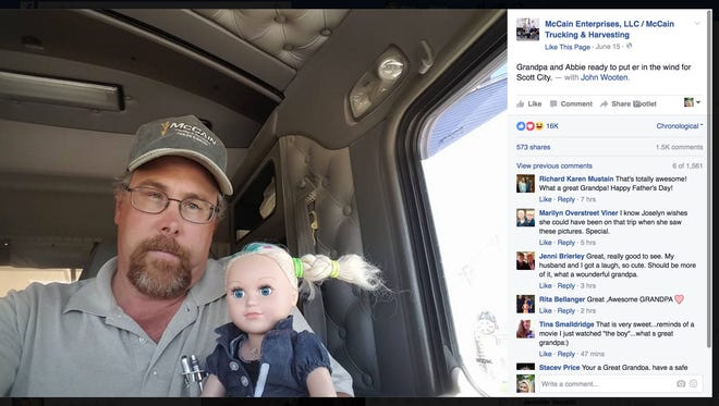 Trent McCain posted photos of his unique babysitting experience on his family business Facebook page on June 15.