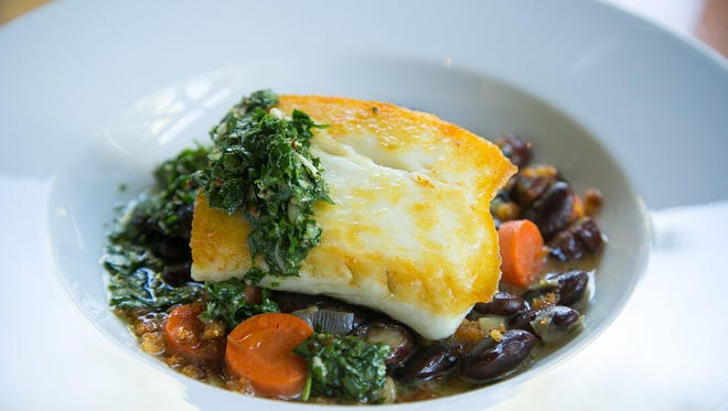 Pan-Seared Halibut With Scarlet Runner Bean Ragout and Parsley Pesto from sous chef Anthony Snyder at Bourbon Steak at Fairmont Scottsdale Princess.