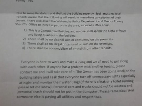 A letter from property owner detailing rules for the