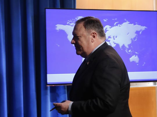 Secretary of State Mike Pompeo walks away after answering questions at a news conference at the State Department in Washington, Tuesday, Nov. 20, 2018. (AP Photo/Pablo Martinez Monsivais)