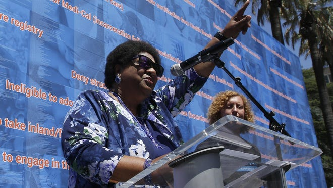 "Assemblywoman Shirley Weber, D-San Diego, speaks at a rally at the Capitol in Sacramento in 2019. California lawmakers are debating whether to let voters decide if the state should overturn its ban on affirmative action programs. Weber, who authored the proposal, said what happened to George Floyd showed ""the symptoms of a much larger problem."" ""I hope that this Legislature would no longer be complicit in the status quo,"" she said. ""We will not idly sit back and rest with gender and racial inequality."""