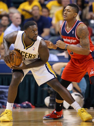 Pacers guard Lance Stephenson tries to work the ball inside during the second half of action. Indiana Pacers play the Washington Wizards in the Eastern Conference semi-final game Tuesday, May 13, 2014, evening at Bankers Life Fieldhouse.