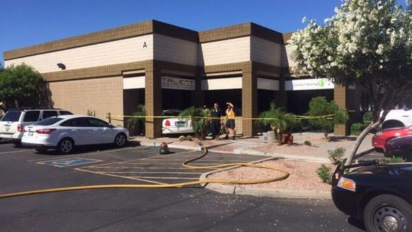 No one was injured when a car ran through a Gilbert building on April 27, 2015.
