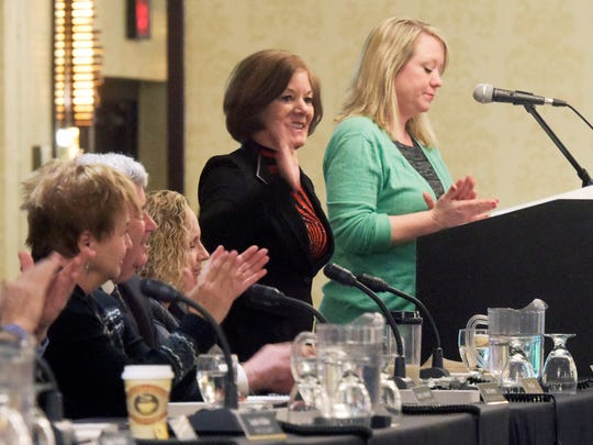 Kathy Minnich, a Northeastern School District social worker, right, announces York County President Commissioner Susan Byrnes during the York County Youth Mental Health Alliance at Wyndham Garden Hotel Monday, Feb. 6, 2017. Students from York County districts questioned a panel of county leaders during the town hall-style meeting. Bill Kalina photo