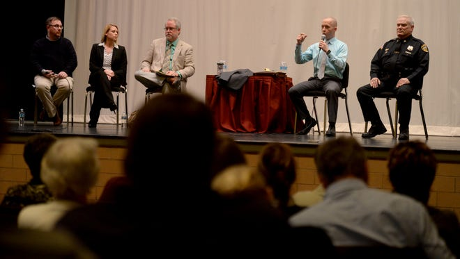 Richmond Mayor-elect Dave Snow talks Tuesday during a town hall event organized by the Palladium-Item and Richmond Community Schools in McGuire Hall at Richmond High School. Joining him on stage are Tony Foster, left, Valerie Shaffer, Ron Oler and Mark Connery.