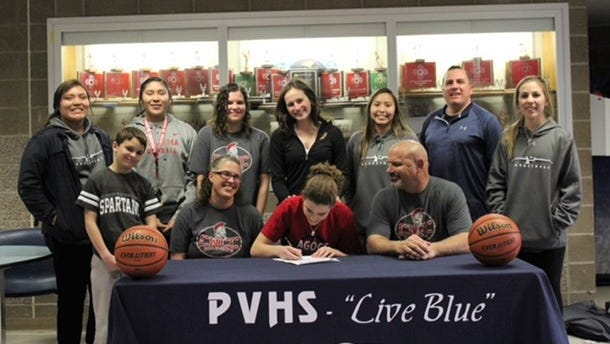 Piedra Vista's Dani Russo signed her national letter of intent Monday night to play basketball at Colorado Northwestern Community College in Rangeley, Colo.