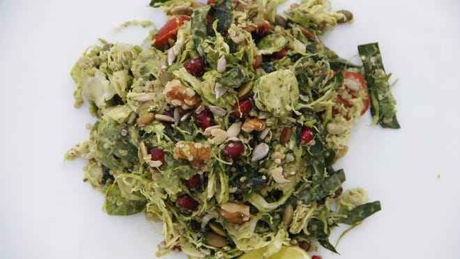 . This salad with high-protein brussels sprouts is filling and satisfying all on its own as well as aesthetically pleasing.