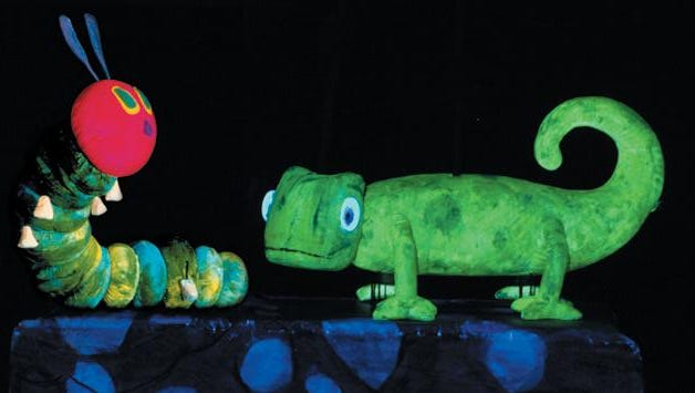 "The stage version of ""The Very Hungry Caterpillar"" employs black light and puppets to tell its story."