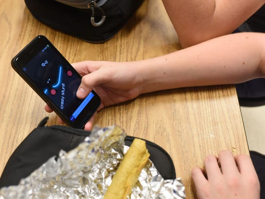 Students are allowed to use their cell phones during one lunch a week at Westland Middle School in Bethesda, Md.