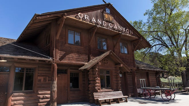 The 1909 Grand Canyon Railway depot was designed by architect Francis Wilson and is one of an estimated fourteen log depots constructed in the United States.