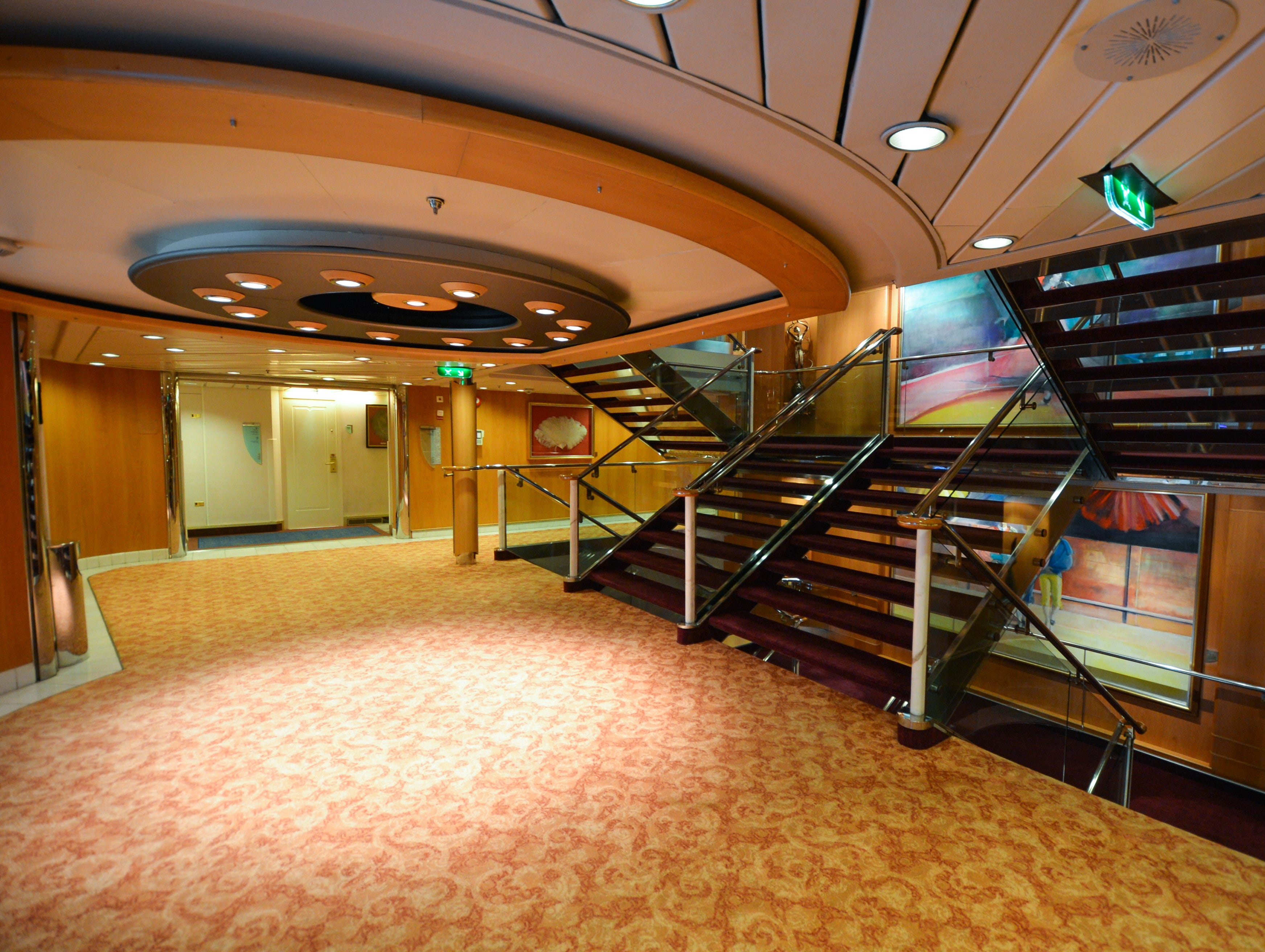 The 2012 makeover of Grandeur of the Seas brought new decor throughout the ship, including in stairwells.