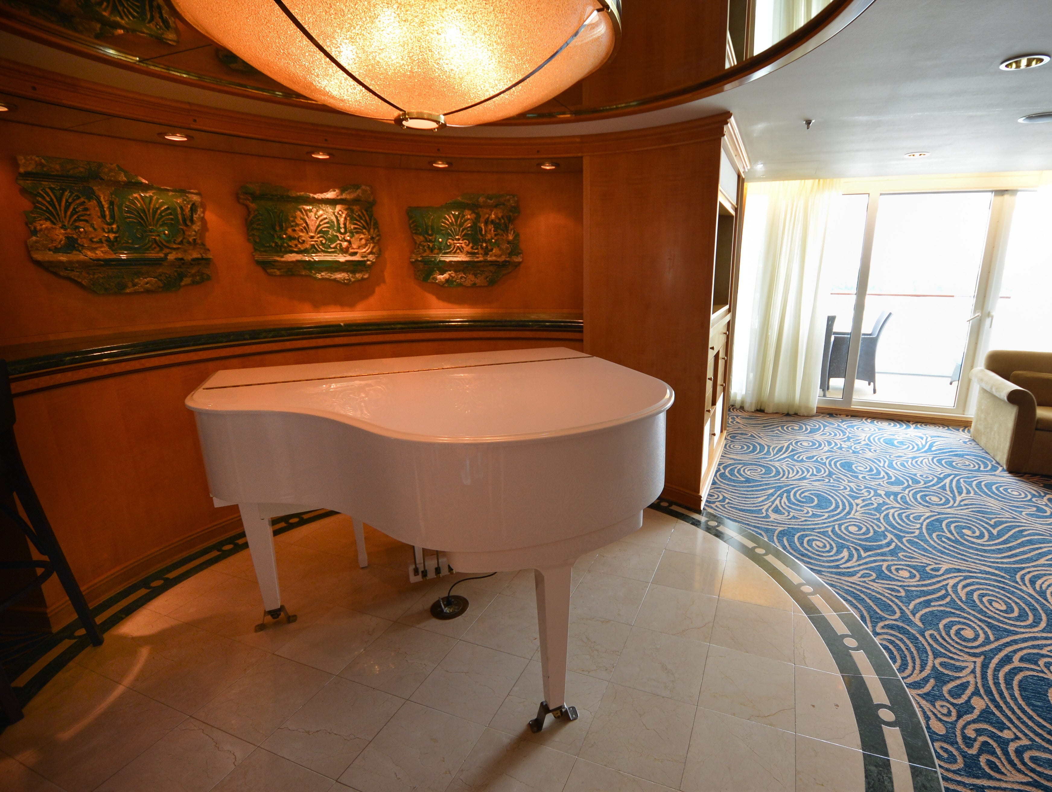 A baby grand piano is another feature of the Royal Suite.