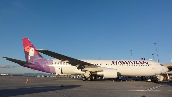 A Hawaiian Airlines Boeing 767-300 at Oakland International Airport.