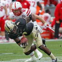 Anthony Brown steps in front of Nebraska's Brandon Reilly to intercept a pass at 5:10 in the third quarter Saturday, October 31, 2015, at Ross-Ade Stadium. Purdue beat Nebraska 55-45.