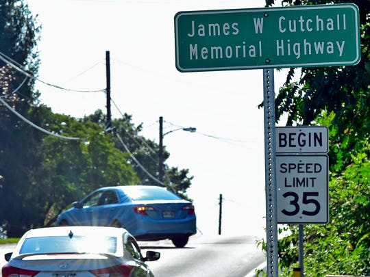"Main Street in Fayetteville has been renamed after firefighter James ""Jim"" Cutchall who was killed by a sniper in July 1977 while responding to a fire alarm."