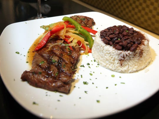 Beef skirt steak with black beans and white rice at La Terrazza Cubana.