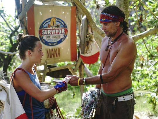 "Ciera Eastin and Troyzan Robertson are seen on ""Survivor: Game Changers."" The Emmy Award-winning series returns for its 34th season March 8."