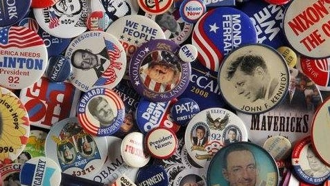 Part of News Director Dick Moss' political button collection.