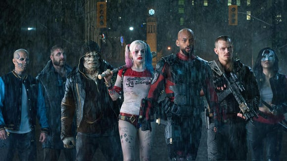 "From left, Jay Hernandez as Diablo, Jai Courtney as Boomerang, Adewale Akinnuoye-Agbaje as Killer Croc, Margot Robbie as Harley Quinn, Will Smith as Deadshot, Joel Kinnaman as Rick Flag and Karen Fukuhara as Katana team up in ""Suicide Squad."""