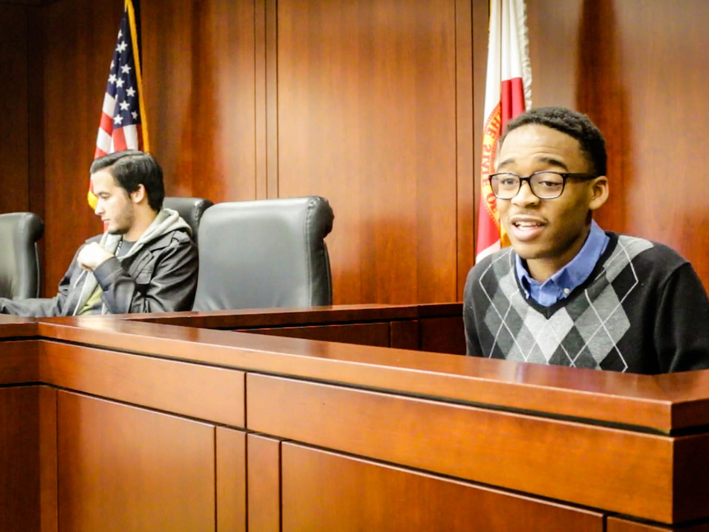 The plantiff in the case takes the stand in the Law School's mock trial on December 2nd, 2016.